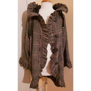 Anthropologie Knitted Dove Plaid Ruffle Coat